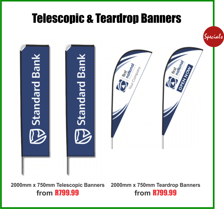 Telescopic and Teardrop Banners printing