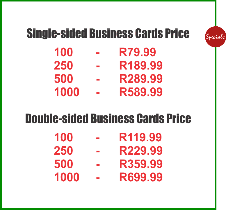 Business cards printing sale johannesburg from r79 business cards business cards johannesburg colourmoves