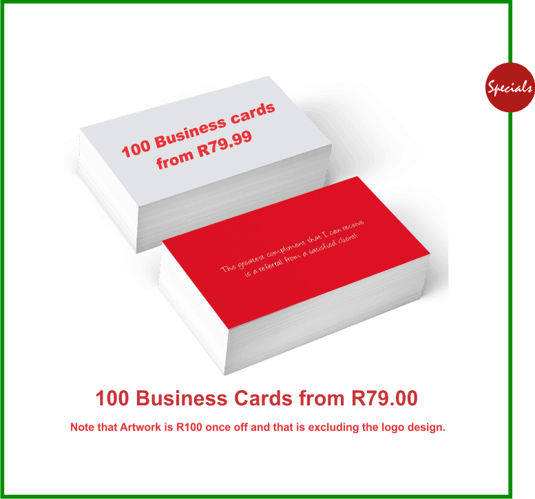 business cards printing sale Johannesburg